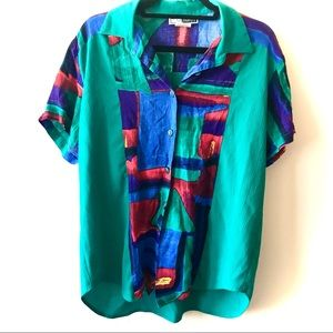 Vintage C. M. Shapes Women's Abstract Green Top M